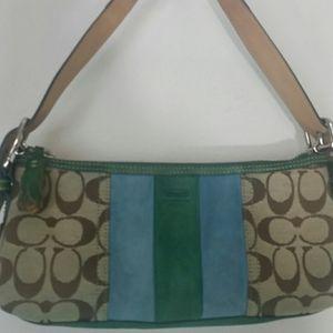 Coach bag signature C green blue suede